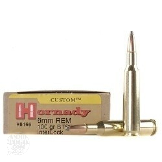 20rds - 6mm Rem. Hornady 100gr. Interlock Boat-Tail Spire Point Ammo
