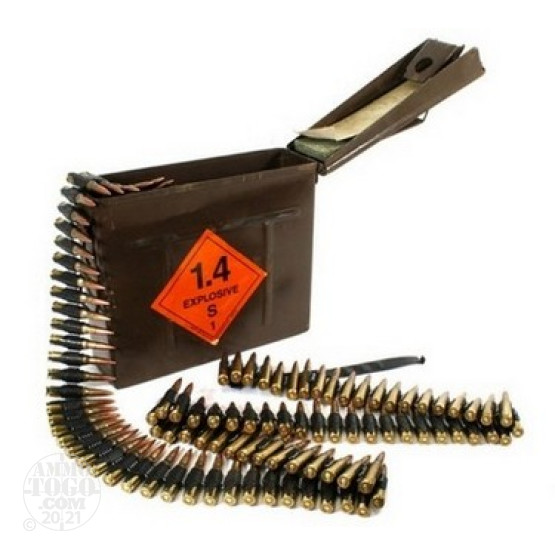 250rds - .308 POF Military 147gr. FMJ Ammo Linked in Can
