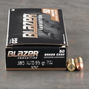 50rds - 380 Auto Blazer Brass 95gr. FMJ Ammo