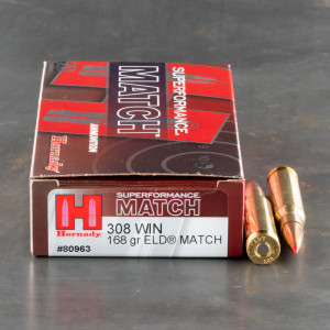 20rds – 308 Win Hornady Superformance Match 168gr. ELD Match Ammo