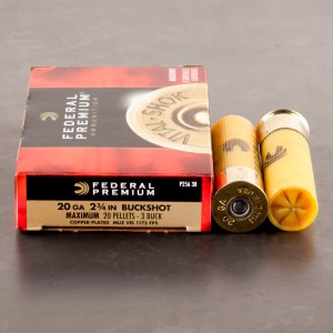 "5rds - 20 Gauge Federal Premium Vital-Shok 2 3/4"" #3 Buckshot Ammo"