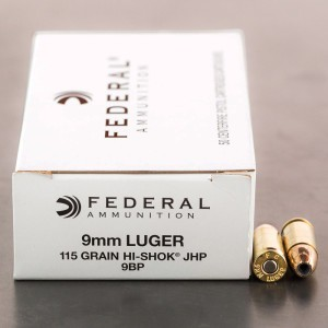 Bulk Federal LE 9mm ammo with 115 grain hi-shok JHP bullets