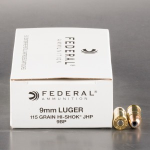 50rds - 9mm Federal LE Hi-Shok 115gr. Hollow Point Ammo