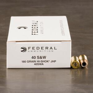 50rds - 40 S&W Federal LE Hi-Shok 180gr. Hollow Point Ammo
