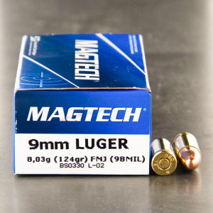 50rds - 9mm NATO Magtech 124gr. FMJ Ammo