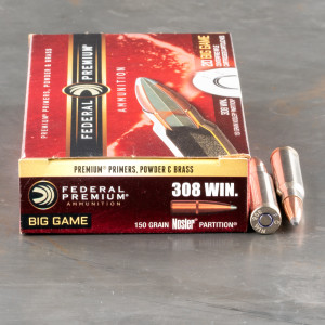 20rds - 308 Federal Premium 150gr. Nosler Partition SP Ammo