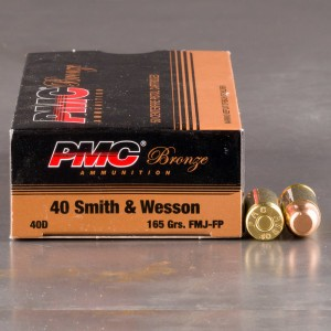 50rds - 40 S&W PMC 165gr. FMJ Ammo