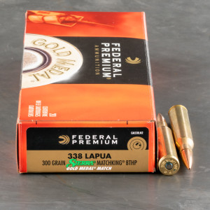 20rds – 338 Lapua Federal Gold Medal 300gr. MatchKing BTHP Ammo