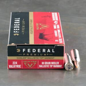 20rds - 224 Valkyrie Federal 60gr. Nosler Ballistic Tip Ammo