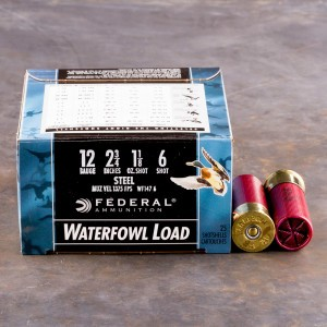 "25rds - 12 Gauge Federal Speed-Shok 2 3/4"" 1 1/8oz #6 Steel Shot Ammo"