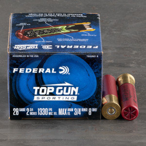 "25rds – 28 Gauge Federal Top Gun Sporting 2-3/4"" 3/4oz. #8 Shot Ammo"