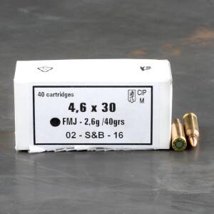 40rds – 4.6x30 HK Sellier & Bellot 40gr. FMJ Ammo