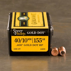 "100pcs - 40 Cal .400"" Dia Speer Gold Dot 155gr. Bonded JHP Bullets"