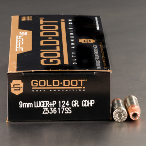 50rds – 9mm +P Speer LE Gold Dot Duty 124gr. JHP Ammo