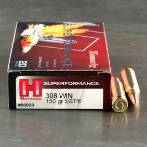 20rds - 308 Hornady Superformance 150gr. SST Polymer Tip Ammo