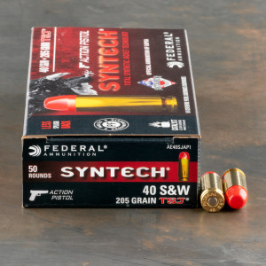 50rds – 40 S&W Federal Syntech Action Pistol 205gr. Total Synthetic Jacket Ammo