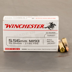 20rds – 5.56x45 Winchester USA 55gr. FMJ M193 Ammo