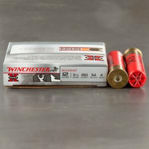 "5rds - 12 Gauge Winchester Super-X 3 1/2"" 54 Pellet #4 Magnum Buckshot Ammo"