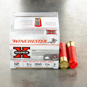 "25rds - 12 Gauge Winchester Super-X High Velocity 3-1/2"" 1-3/8 Oz. #3 Steel Shot Ammo"