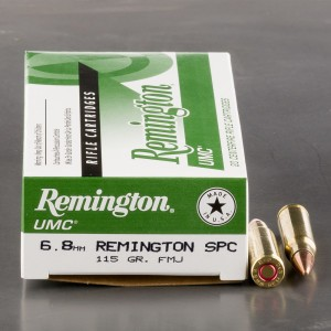 200rds - 6.8mm SPC Remington UMC 115gr. FMJ Ammo