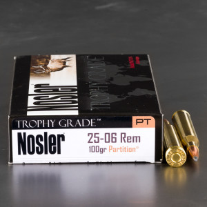 20rds - 25-06 Rem Nosler Trophy Grade 100gr. Partition SP Ammo