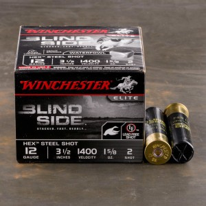 "25rds - 12 Ga. Winchester Elite Blind Side 3 1/2"" 1 5/8oz #2 Hex Steel Shot Ammo"