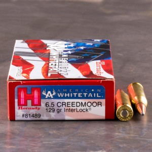 20rds - 6.5mm Creedmoor Hornady American Whitetail 129gr. InterLock SP Ammo