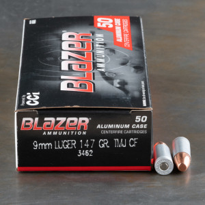 50rds – 9mm Blazer Clean-Fire 147gr. TMJ Ammo
