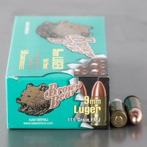 500rds - 9mm Brown Bear 115gr. FMJ Ammo