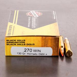 20rds - 270 Win. Black Hills Gold 130gr Hornady GMX Ammo