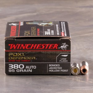 20rds – 380 Auto Winchester Defender 95gr. PDX1 Bonded JHP Ammo