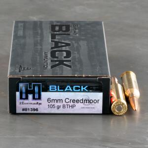 20rds – 6mm Creedmoor Hornady BLACK 105gr. BTHP Ammo