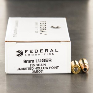 1000rds - 9mm Federal XM9001 115gr. JHP Ammo