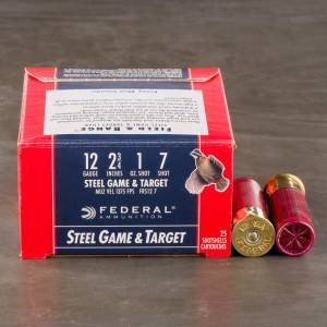 "250rds – 12 Gauge Federal Steel Game & Target 2-3/4"" 1 oz. #7 Steel Shot Ammo"