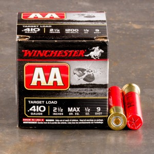 """25rds – 410 Bore Winchester AA 2-1/2"""" 1/2oz. #9 Shot Ammo"""
