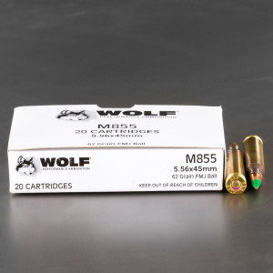 20rds – 5.56x45 Wolf Gold 62gr. FMJ M855 Ammo