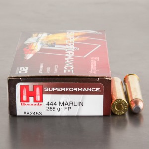 20rds - 444 Marlin Hornady 265gr. Flat Point Ammo