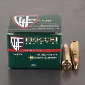 20rds - 7.62x39 Fiocchi 124gr. FMJ Brass Cased Ammo