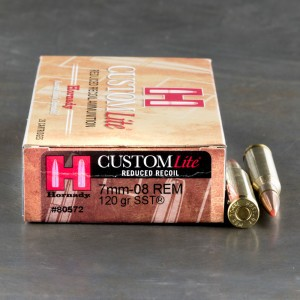 20rds - 7mm-08 Hornady CustomLite Reduced Recoil 120gr. SST Polymer Tip Ammo