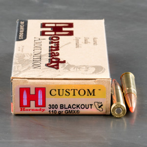 200rds – 300 AAC Blackout Hornady Custom 110gr. GMX Ammo
