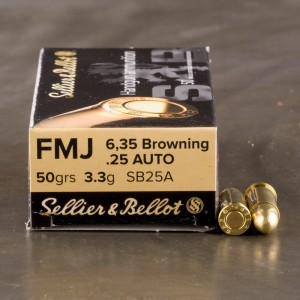50rds - 25 Auto Sellier & Bellot 50gr. FMJ Ammo