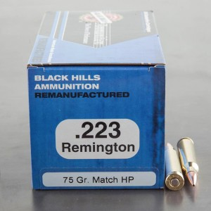 50rds - 223 Rem Black Hills Remanufactured 75gr. Match HP Ammo