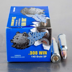 500rds - .308 Silver Bear 140gr. Soft Point Ammo