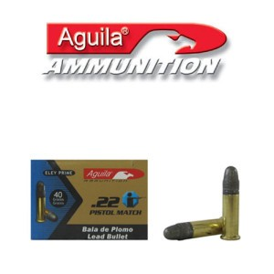 50rds - 22LR Aguila Pistol Match 40gr. Solid Point Ammo