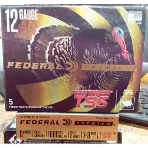 "5rds – 12 Gauge Federal Heavyweight TSS 3-1/2"" 2-1/2oz. #7/9 Shot Ammo"