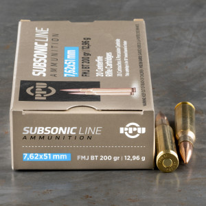 200rds – 7.62x51mm Prvi Partizan Subsonic 200gr. FMJBT Ammo