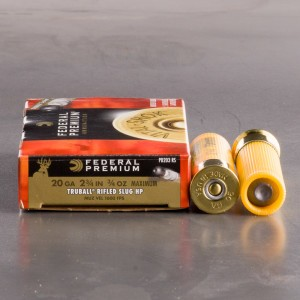 "5rds – 20 Gauge Federal TruBall 2-3/4"" 3/4 oz. HP Rifled Slug Ammo"