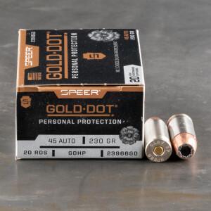 20rds – 45 ACP Speer Gold Dot 230gr. JHP Ammo