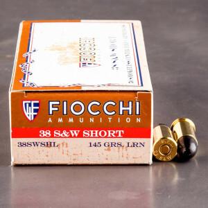 50rds - 38 S&W Fiocchi 145gr. LRN Ammo