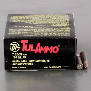 1000rds – 7.62x39mm Tula Cartridge Works 124gr. HP Ammo